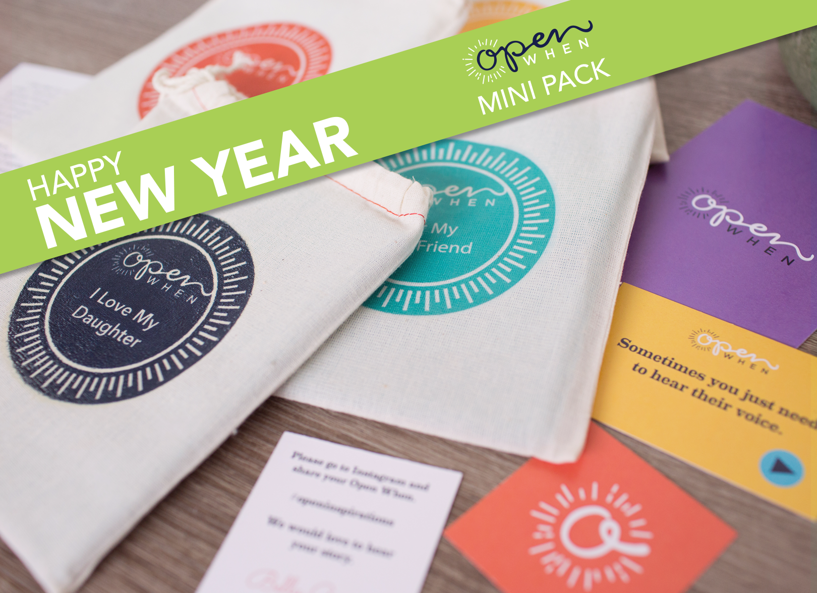 Happy New Year Mini Pack Open When Customizable letters cards