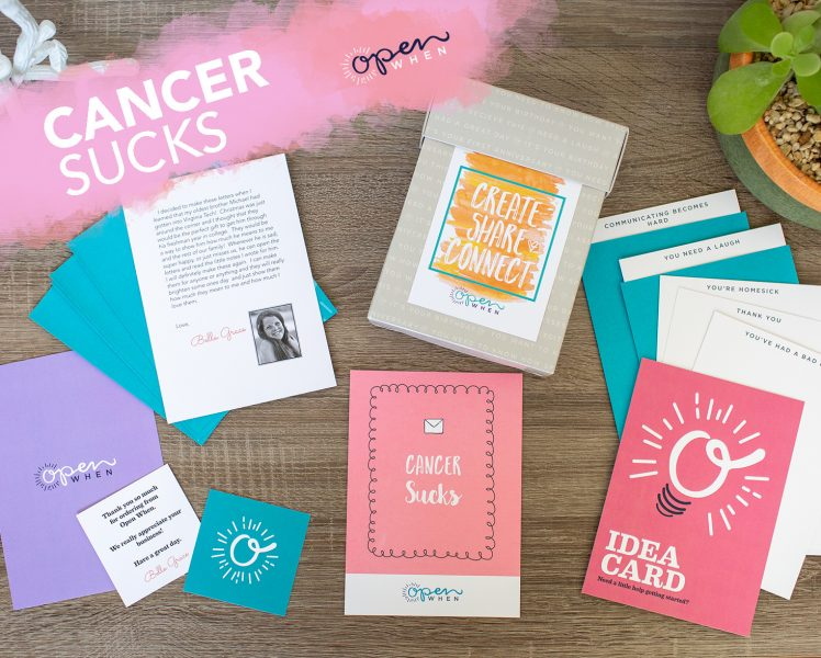 open when cancer sucks gift letter card pack